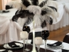 white and black ostrich feather centerpiece