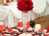 red feather ball centerpiece