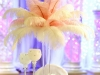white and pink ostrich feather centerpiece