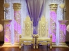 white throne and crystal pillar and backdrop setup