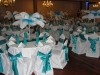 white and turquoise ostrich feather centerpiece