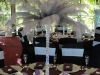 silver ostrich feather centerpiece